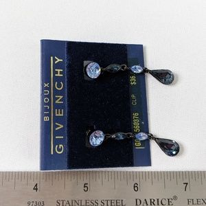 Givenchy Jewelry - Vintage Bijoux Givenchy Blue Crystal Drop Earrings